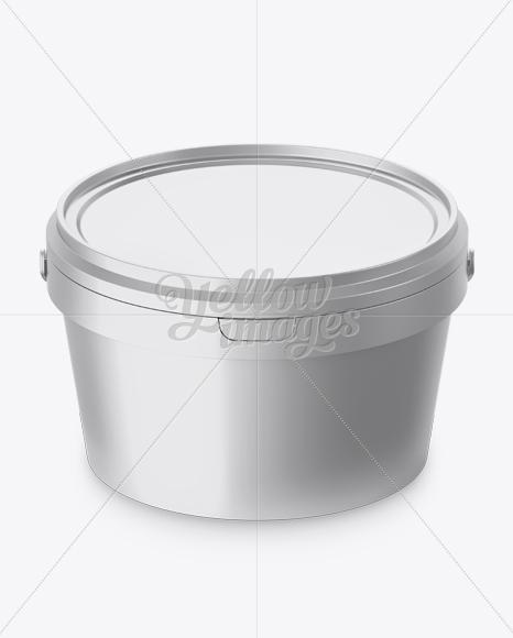 Metallic Paint Bucket Mockup - Halfside View (High-Angle Shot)