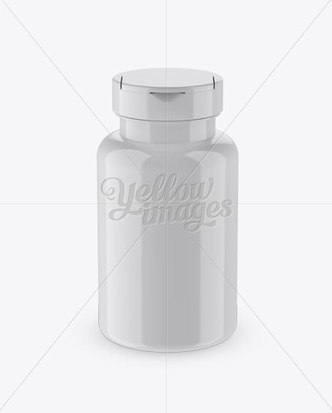 Glossy Pill Bottle Mockup (High-Angle Shot)