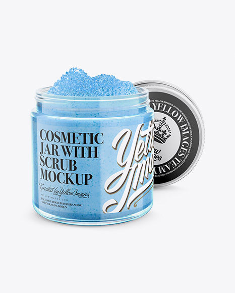 Download Glossy Cosmetic Jar With Scrub Mockup High Angle Shot PSD - Free PSD Mockup Templates