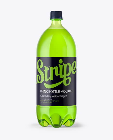 2L Green Bottle with Drink Mockup