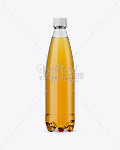 500ml Clear PET Bottle w/ Orange Drink Mockup - Front View