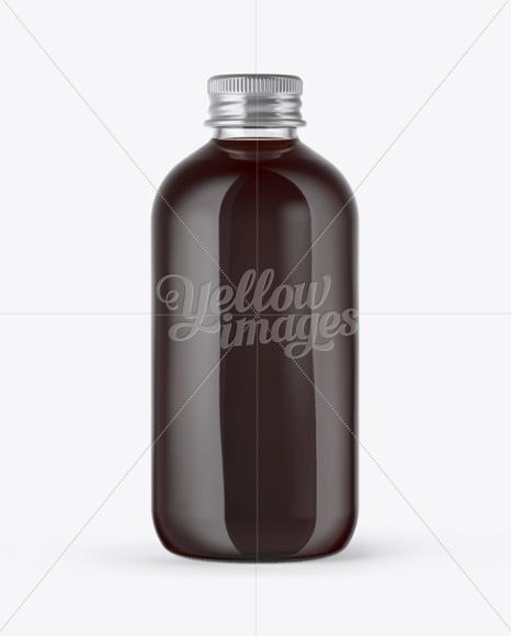 Glass Bottle with Dark Drink Mockup