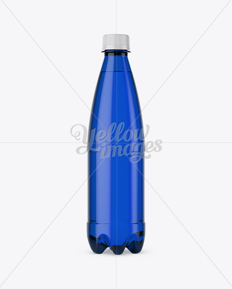 500ml Blue PET Water Bottle Mockup - Front View
