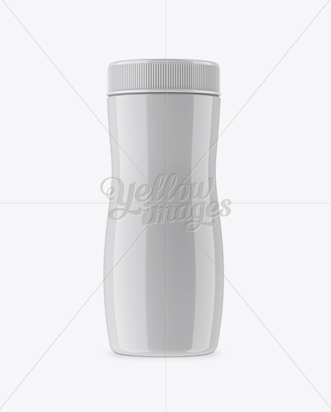 Glossy Plastic Jar Mockup - Front View