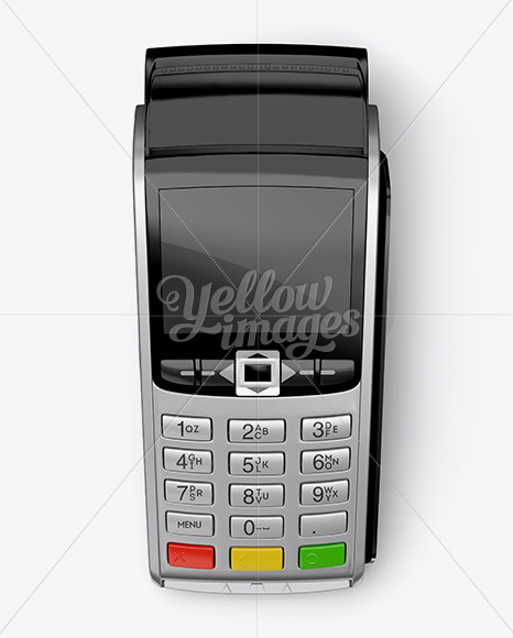 Download Payment Terminal W Label Mockup Top View In Device Mockups On Yellow Images Object Mockups PSD Mockup Templates