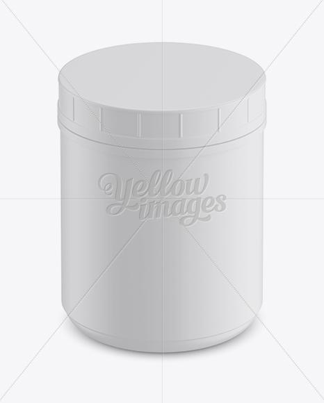 Matte Plastic Jar with Glossy Label Mockup (High-Angle Shot)