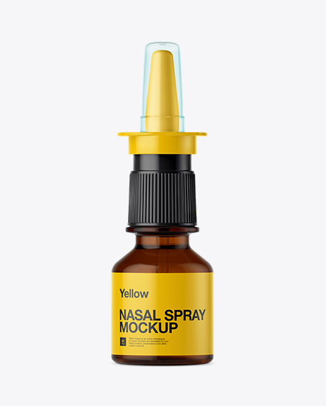 Amber Nasal Spray Bottle Mockup - Front View