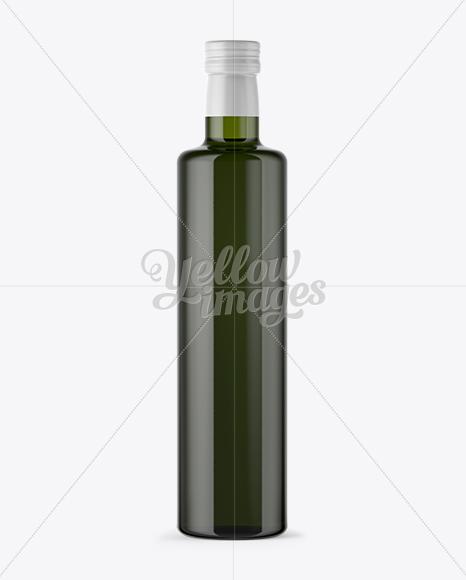 750ml Green Glass Olive Oil Bottle Mockup