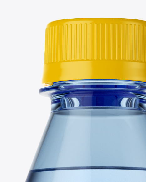 1L Blue PET Water Bottle Mockup - Front View