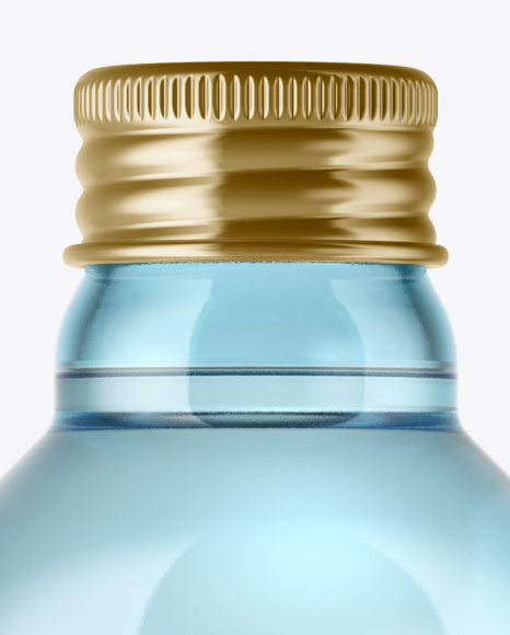 Aqua Blue Glass Bottle w/ Metal Cap Mockup
