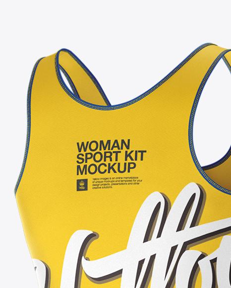 Women's Fitness Kit Mockup - Back Halfside View