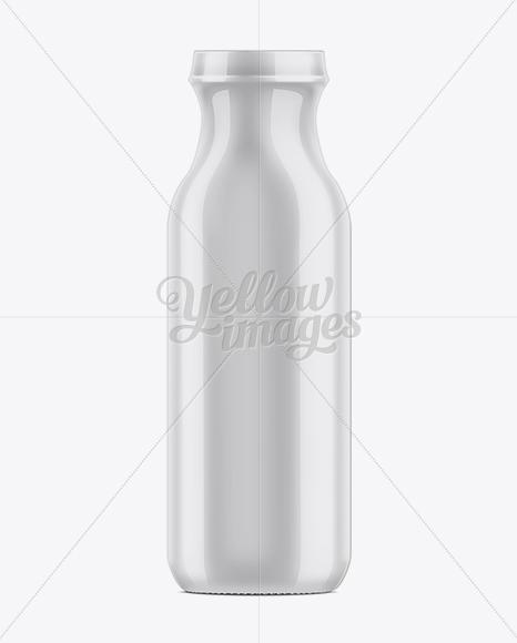 13.7oz Glass Bottle with Shrink Sleeve Mockup