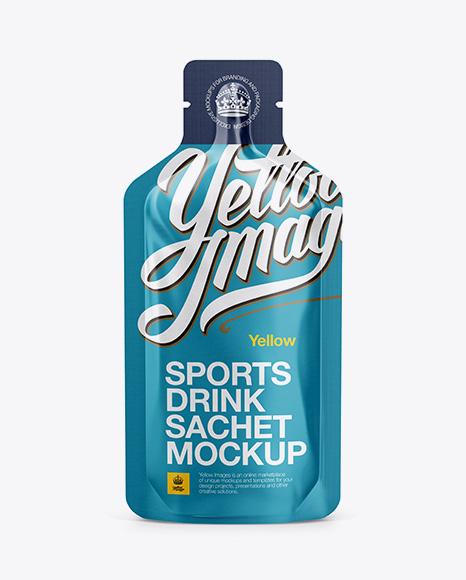 Matte Sports Energy Drink Sachet Mockup - Front View