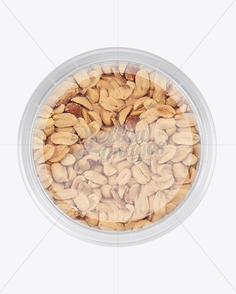 Plastic Container w/ Peanuts Mockup - Top View