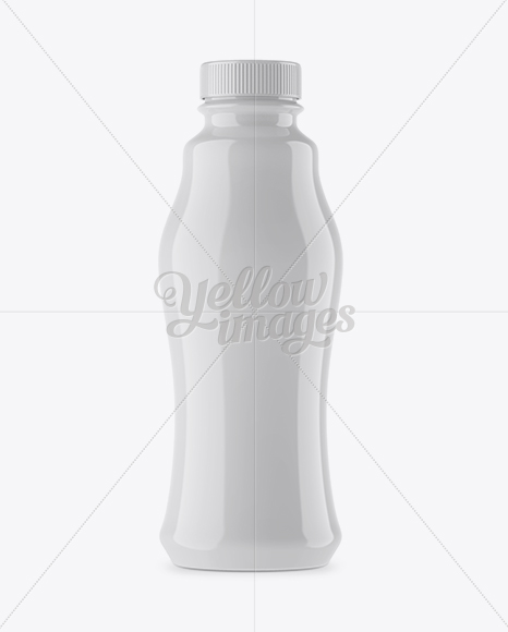 Glossy Plastic Bottle Mockup - Front View