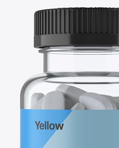 Clear Pill Bottle Mockup - Front View