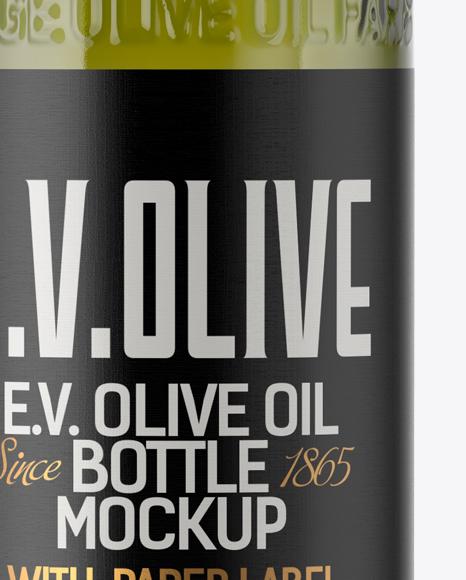 1L Green Glass Olive Oil Bottle Mockup