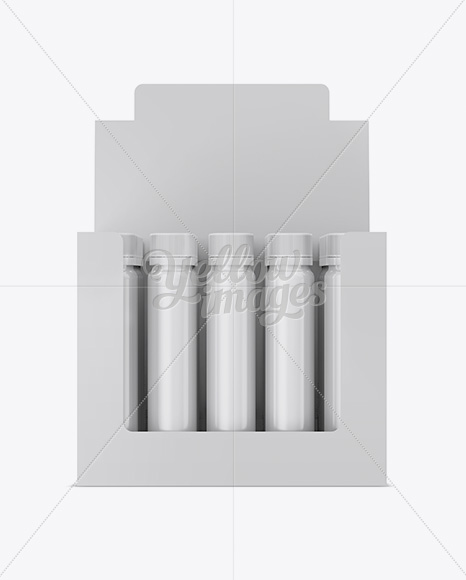 20 Glossy Sport Nutrition Bottles Display Box Mockup - Front View