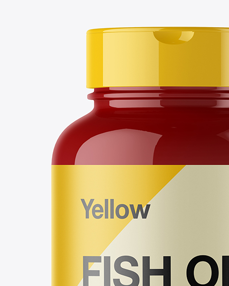 Glossy Plastic Fish Oil Bottle Mockup - Front View