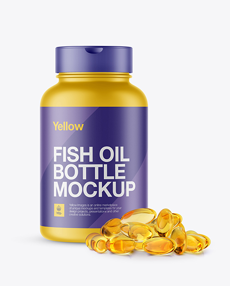 Matte Plastic Fish Oil Bottle Mockup - Front View