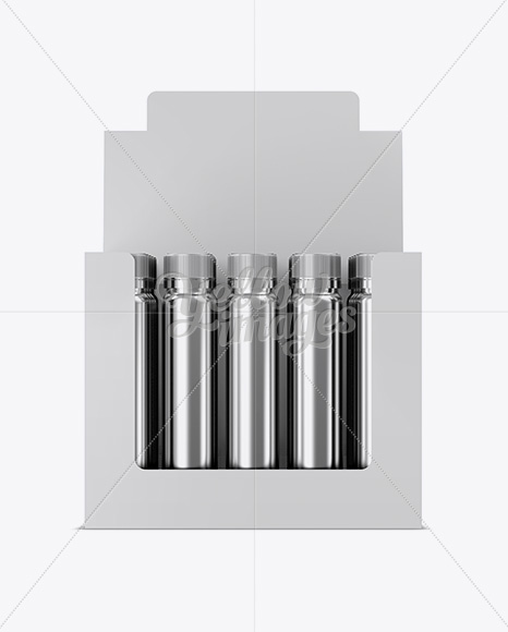 20 Metallic Sport Nutrition Bottles Display Box Mockup - Front View
