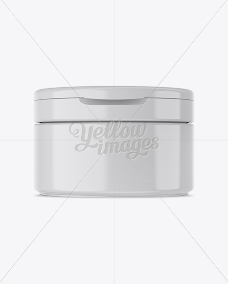 Glossy Cosmetic Jar with Flip Top Cap Mockup - Front View