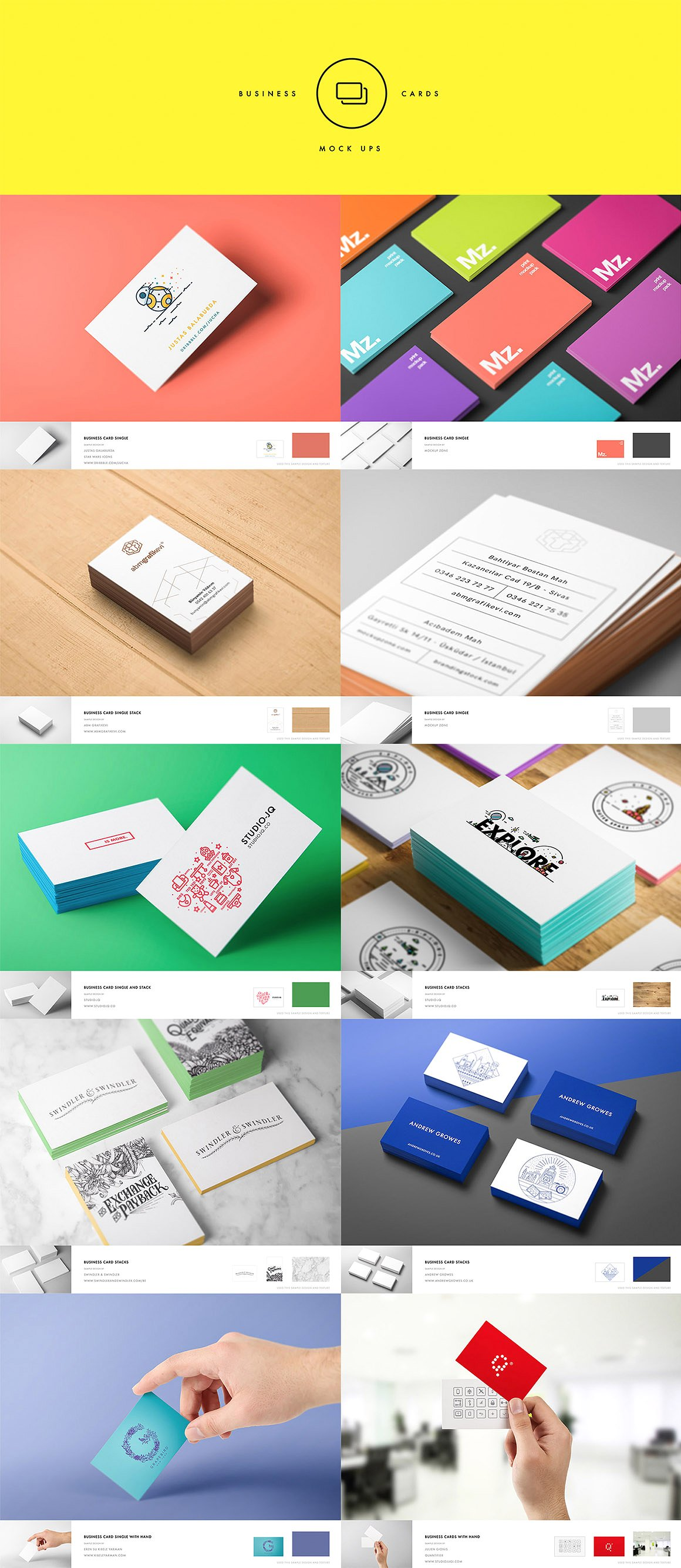 11 Business Card Mockups In Stationery Mockups On Yellow