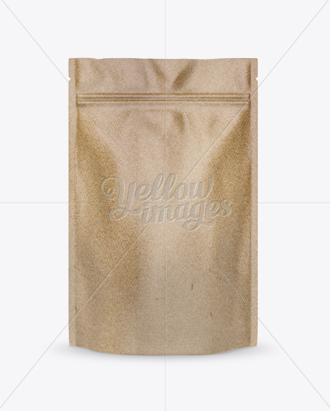 Kraft Paper Stand-up Pouch Mockup - Front View