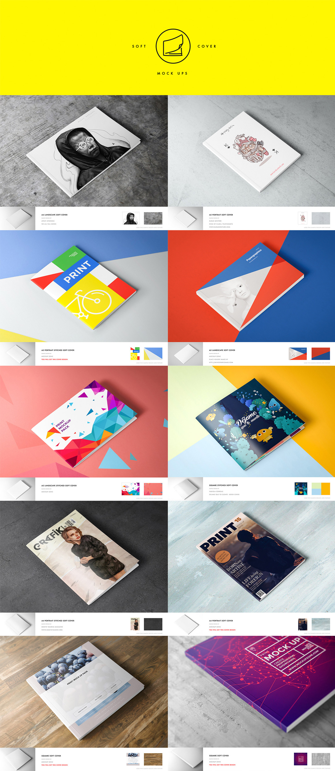10 Different Soft Cover Book Mockups (Vol.1)