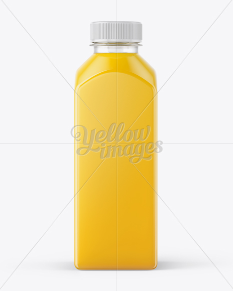 Square Orange Juice Bottle Mockup - Front View