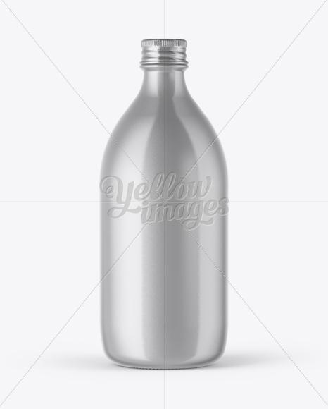 Metallic Bottle With Paper Label Mockup In Bottle Mockups On