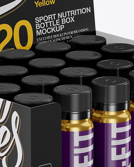 20 Metallic Sport Nutrition Bottles Display Box Mockup Halfside