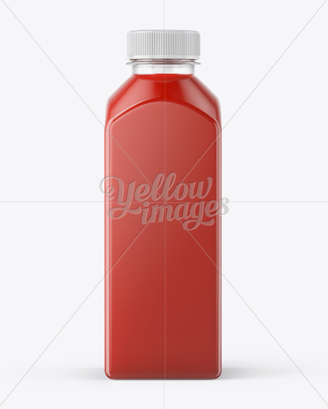 Square Tomato Juice Bottle Mockup - Front View