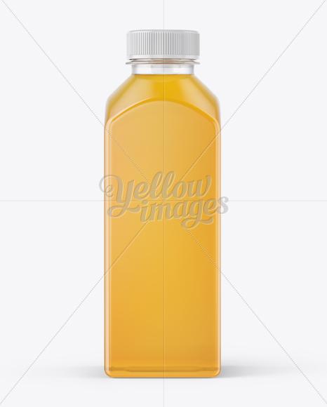 Square Apple Juice Bottle Mockup - Front View