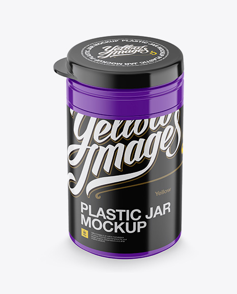 Plastic Jar Mockup - Front View (High-Angle Shot)