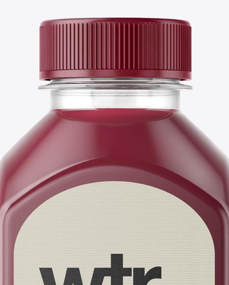 Square Berry Juice Bottle Mockup