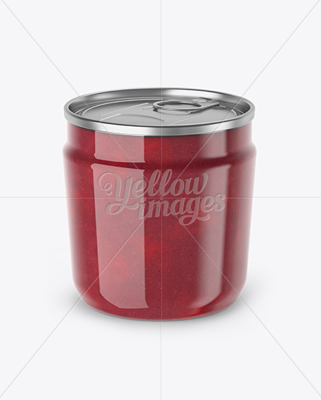 Plastic Jar With Cranberry Jam Mockup (High-Angle Shot)