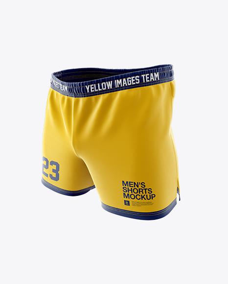 Download Men S Rugby Shorts Hq Mockup Halfside View In Apparel Mockups On Yellow Images Object Mockups