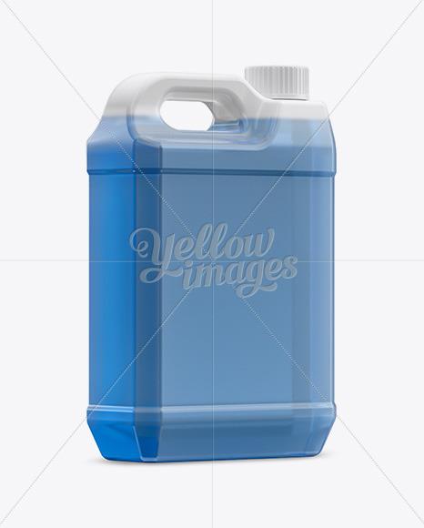 Transparent Plastic Jerrycan with Liquid Mockup - Halfside Back View