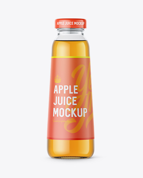 Clear Bottle With Red Apple Juice Mockup