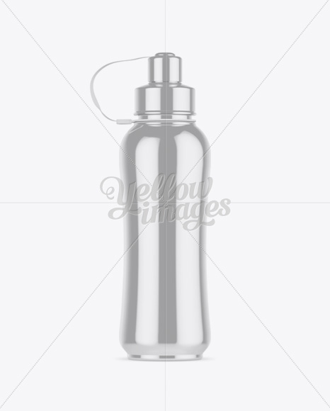 Metallic Sport Bottle Mockup - Front View