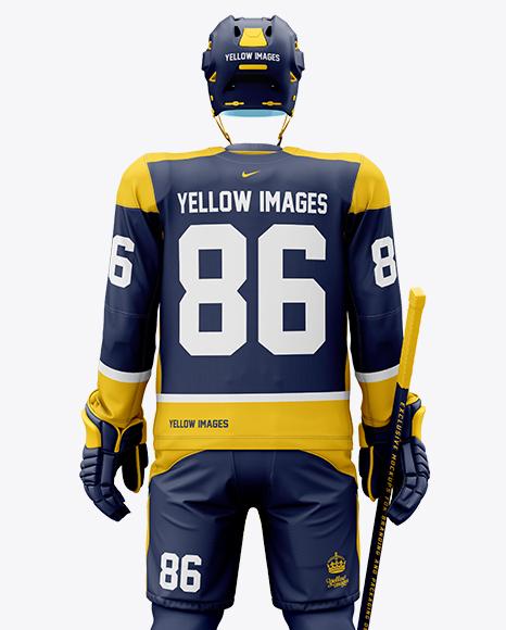 Men's Full Ice Hockey Kit with Visor mockup (Back View)