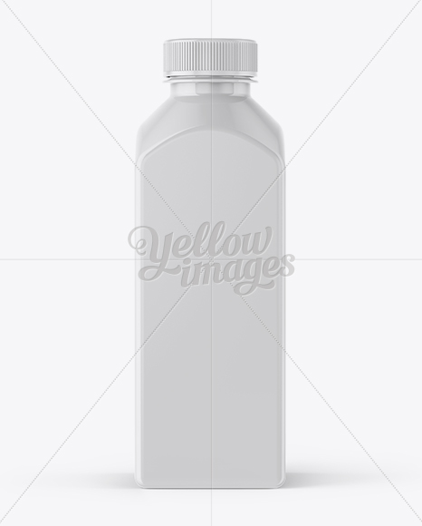 Square Plastic Bottle With Paper Label Mockup