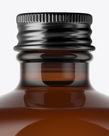 Amber Glass Bottle With Metal Cap Mockup