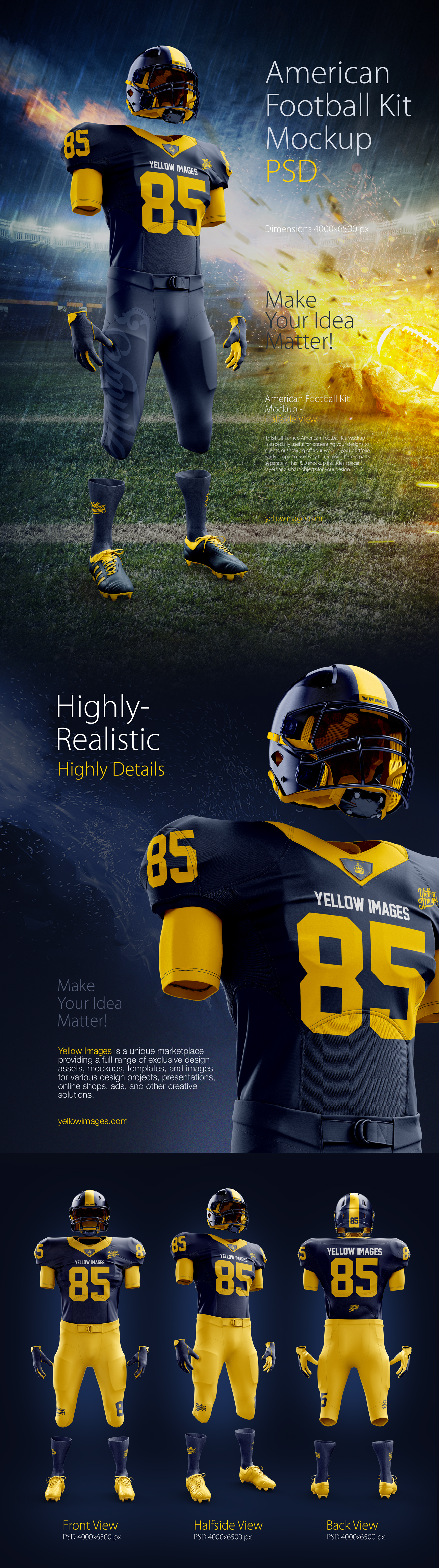 American Football Kit Mockup PSD