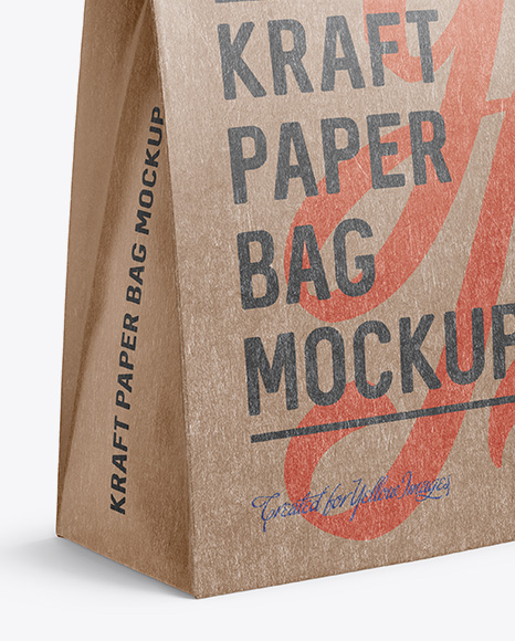 Download Kraft Paper Bag Mockup Halfside View In Bag Sack Mockups On Yellow Images Object Mockups PSD Mockup Templates
