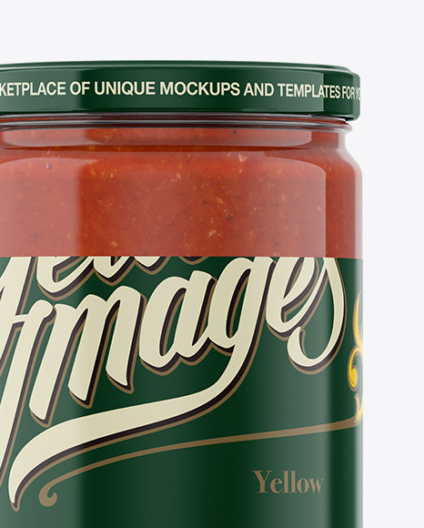 Download 120g Glass Jar In Shrink Sleeve With Tomato Sauce Mockup PSD - Free PSD Mockup Templates