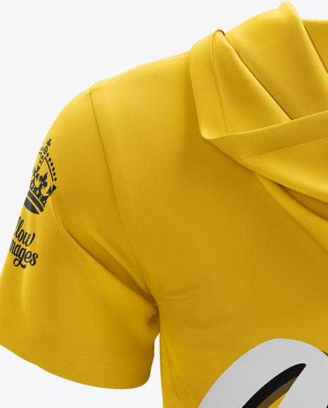 Short Sleeve Zip Hoodie Mockup - Back View