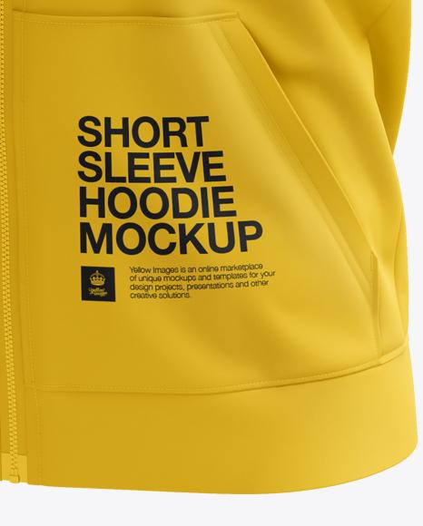 Download Short Sleeve Zip Hoodie Mockup Halfside View Yellowimages