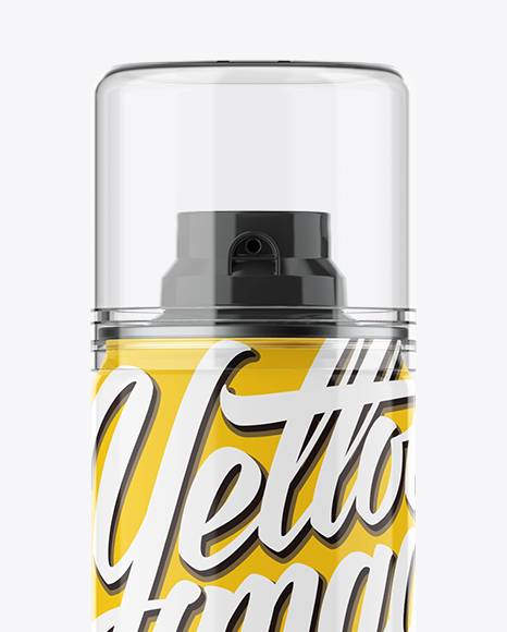 Glossy Spray Bottle With Transparent Cap Mockup